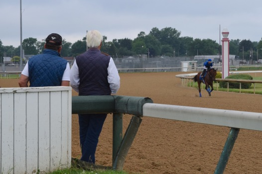Bob Baffert watches on as American Pharoah trains for the Belmont Stakes. Likely thinking to himself